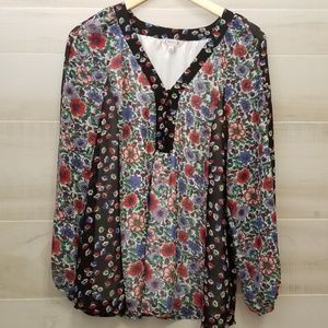{L}Nanette Lepore Color Block Floral Bubble Sleeve